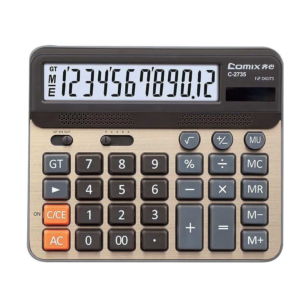 懸念染色アボートComix 卓上電卓 大型コンピューターキー 12桁表示 シャンペーンゴールドカラーパネル C-2735