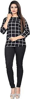 Dsk Studio Woman's Crepe 3/4 Sleeve Regular fit Top_dtp1008_Black