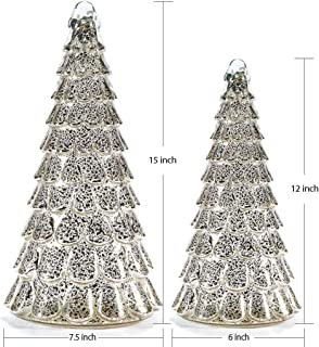 glasburg Light Up Heavy Weight Glass Christmas Tree Topper Pack of 2 (Silver)