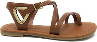 Womens JDValine Ankle Wrap Strap Sandal with Buckle Triangle Cut Out