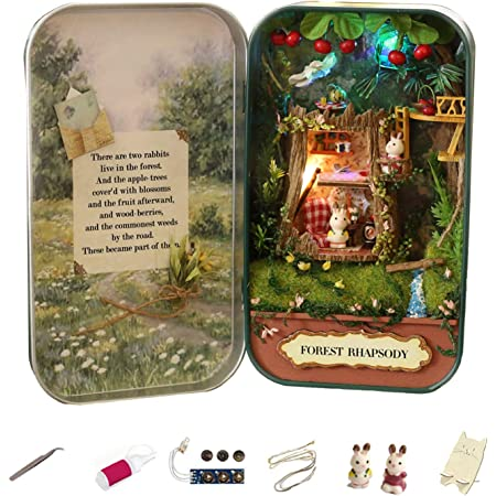 MAGQOO 3D Wooden Dollhouse Miniature DIY Doll House Kit with Furniture,1:24 DIY Box Theater Kit (Forest Melody)