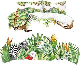 HNHDDZ Funda Nórdica Hojas Tropicales Jungle Juego de Cama Animal Cebra Leopardo Jirafa Mono Flor Funda Nórdica y Funda de Almohada Juvenil Chica (Estilo2, 220x240 cm - Cama 150 cm)