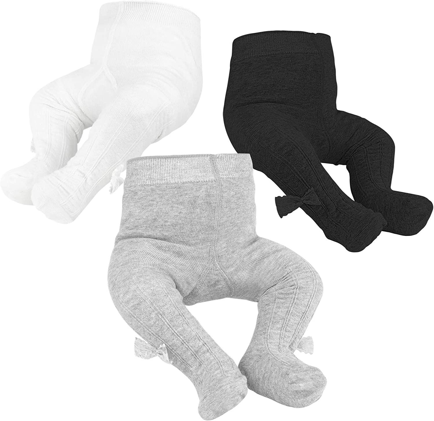 Baby Girls Tights Toddler Cable Knit Leggings Infant Soft Seamless Tights Newborn Pants Stockings with Lovely Bowknot