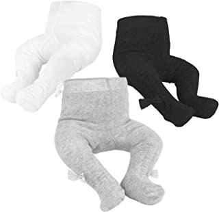 ZukoCert Baby Girls Knitted Tights Seamless Cotton 3 Pack Pantyhose for New-Born Infants Toddlers 0-2Y