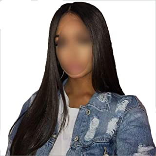 13x4 Lace Front Human Hair Wigs Pre Plucked For Black Women Remy Brazilian Straight Lace Front Wig With Baby Hair Bleached Knots,Natural Color,18inches,200 Density