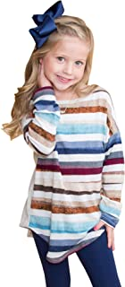 Little Girls Cute Color Block Striped Tunic Tops Long Sleeves Shirts Rainbow Blouses