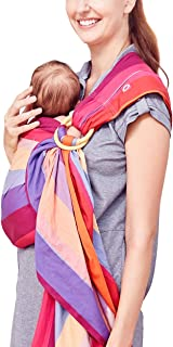 Mamaway Ring Sling Baby Wrap Carrier for Infants and Newborns, Nursing Cover, Breastfeeding Privacy, Baby Holder, Breathable Fabric, 100% Cotton-Rainbow Candy Wrap