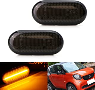 iJDMTOY Smoked Lens Amber Full LED Front Side Marker Light Kit For 2016-up Smart Car Fortwo Forfour, Powered by 20-SMD LED, Replace OEM Sidemarker Lamps