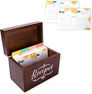 Vintage 4x6 Wood Recipe Box with Cards and Dividers Gift Set | 75 Lemon Orange Double Sided 4x6 Recipe Cards & 8 Dividers | Great Gift for Mom Women Wedding Bridal Shower
