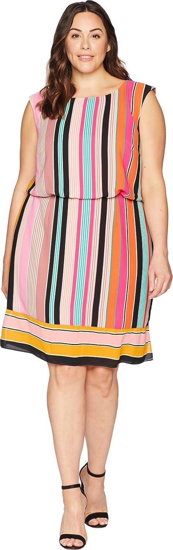 Adrianna Papell Women's Size Plus Fiesta Stripe Blouson Dress