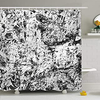 Ahawoso Shower Curtain for Bathroom 60x72 Watercolor Jackson Bottom Part Girls Face Profile Modern Pollock People Dry Abstract Beautiful Beauty Waterproof Polyester Fabric Bath Decor Set with Hooks