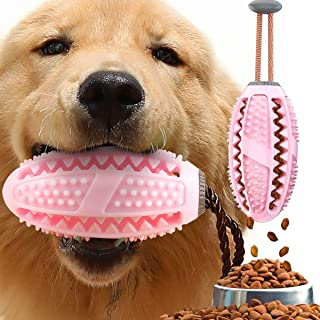 USWT Dog Treat Toy Food Dispensing Training Ball,Tooth Cleaning Chew Toy for Small Medium Dogs IQ Interactive Puppy Depressing Toys,Pet Bad Breath Cleaning Toy