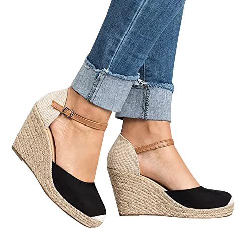 Enjoybuy Womens Mary Jane Wedge Heeled Pumps Espadrille Closed Toe Ankle Strap Booties Comfort Walking Shoes