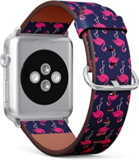 Compatible with Apple Watch Serie 4/3/2/1 (Big Version 42/44 mm) Leather Wristband Bracelet Replacement Accessory Band + Adapters - Pink Flamingo