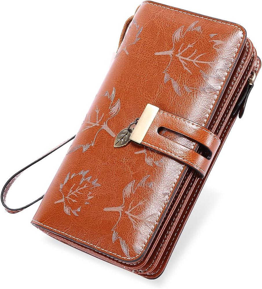 Luroon portafoglio per donna porta carte di credito con protezione anticlonazione in vera pelle marrone