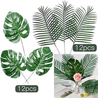 FEPITO 24 Pcs Large Artificial Tropical Palm Monstera Leaves 2 Styles Faux Tropical Plant Leaves for Hawaiian Safari Jungle Moana Theme Birthday Party Green Luau Party Home Decorations Supplies