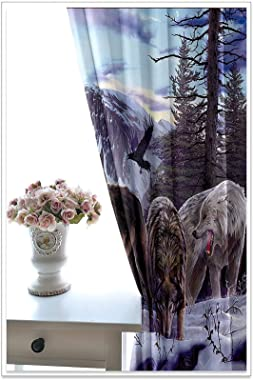 AMDXD 2 Panels Polyester Curtains for Living Room, Darkening Curtains for Bedroom Wolves on The Snow Mountain Curtains, Machi