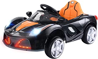 Costzon Kids Ride On Car, 12V Battery Powered Vehicle, Parental RC Remote Control & Manual Modes w/ LED Lights, Horn, Music, MP3, Open Doors, High/ Low Speed, Black