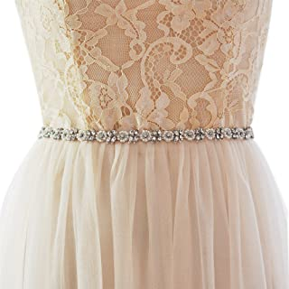 Azaleas Women's Rhinestone Bridal Belt Sashes Long Thin Small flower Wedding Dresses Sash Belts