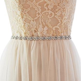 Azaleas Women's Rhinestone Bridal Belt Sashes Long Thin Small flower Wedding Dresses Sash Belts
