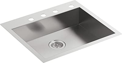 """KOHLER Vault 25"""" Single Bowl 18-Gauge Stainless Steel Entertainment Bar Secondary Kitchen Sink with Four Faucet Holes K-3894-4-NA Drop in or Undermount Installation"""