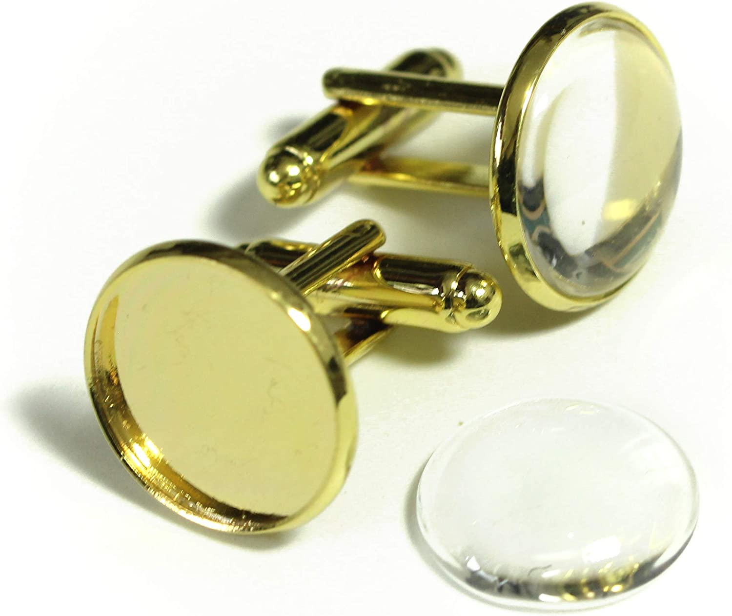 ALL in ONE Cufflinks Cuff Links Button Cabochon Blank Trays Frame with Clear Glass Dome (Gold 16mm - 10 Sets)