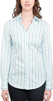 Hawes /& Curtis Womens Blue /& White Multi Stripe Fitted Shirt Single Cuff