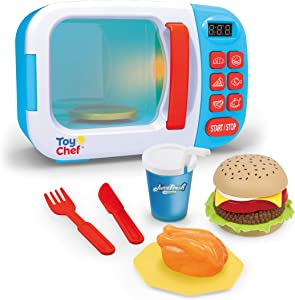 Toy Chef Kids Microwave Oven Toy, Pretend Play Kitchen, Electronic Bright Colored Microwave with Lights and Toy Food