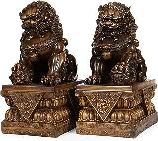 Wenmily Large Size Wealth Porsperity Pair of Fu Foo Dogs Guardian Lion Statues,Best Housewarming Congratulatory Gift to Ward Off Evil Energy,Feng Shui Decor (8.8Hx6.5Lx4.2W Each)