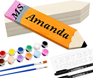 YEXPRESS 4 Pack Personalized Pencil Teacher Name Plates, DIY Desk Name Plates, Teacher Appreciation Gift for Desk Sign Classroom School Decor