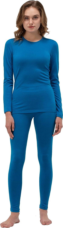Naturwool Women's 100% Merino Wool Base Layer John Set Thermal Underwear Top and Bottom