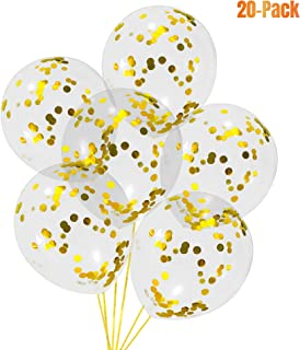 Gold Confetti Balloons 12 Inches(20-Pack), Clear Balloons with Metallic Confetti Pre-Filled, Birthday Balloon, Party Supplies & Decoration for Baby Shower, Wedding, Graduation
