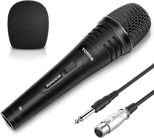 TONOR Microphone Dynamique Professionnel avec 5 m Câble pour DVD, Télévision, KTV Audio, Réflecteur, Console de Mixag...