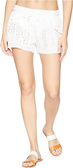Eyelet Patchwork Cover-Up Shorts