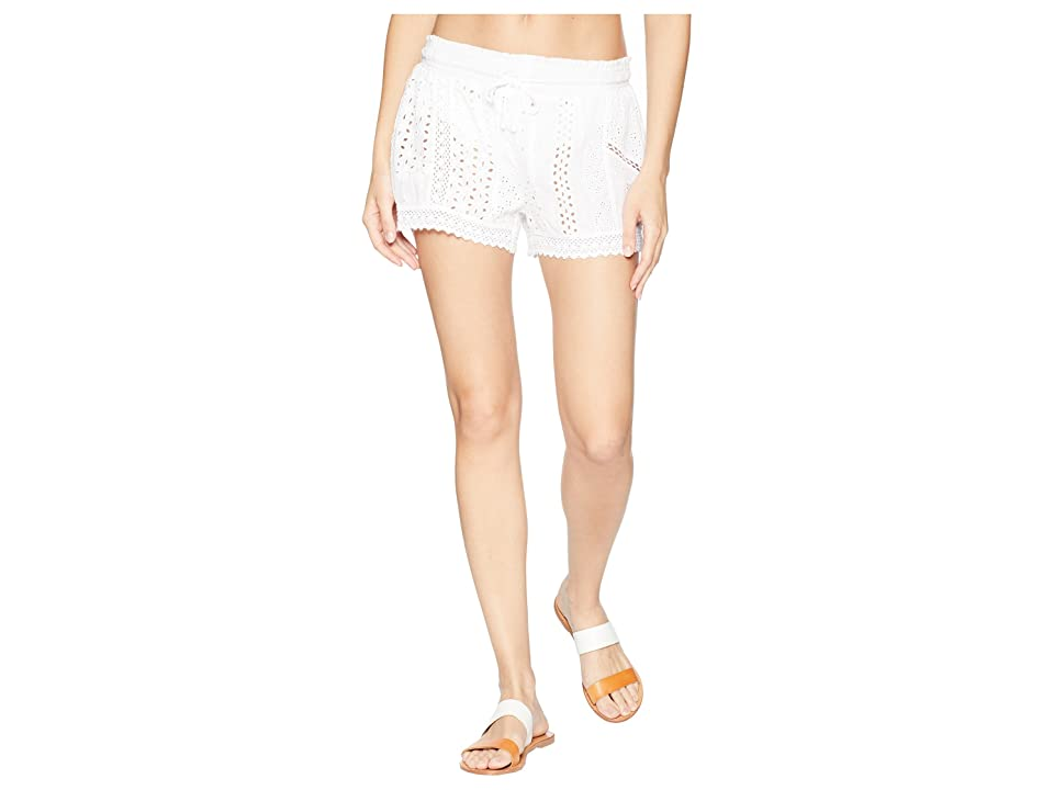 Polo Ralph Lauren Eyelet Patchwork Cover-Up Shorts (White) Women
