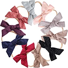 10Pack Baby Girls Headband and Bows Cotton Linen/Gypsophila Elastic Hair Band Newborn Infant Toddler Hair Accessories No Trace Hair Tie Clips