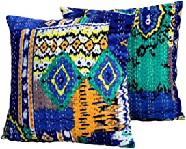 AGASVI Cotton Ikat Multi Color Kantha Embroidery Throw Pillow Covers for Home Décor Set of 2 Blue, 20x20