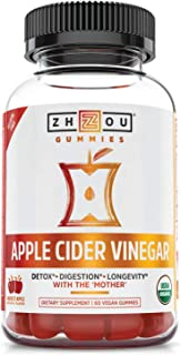 Zhou Nutrition Apple Cider Vinegar Gummies with The Mother - ACV Vegan Detox Cleanse - Gluten Free Probiotic Supplement fo...