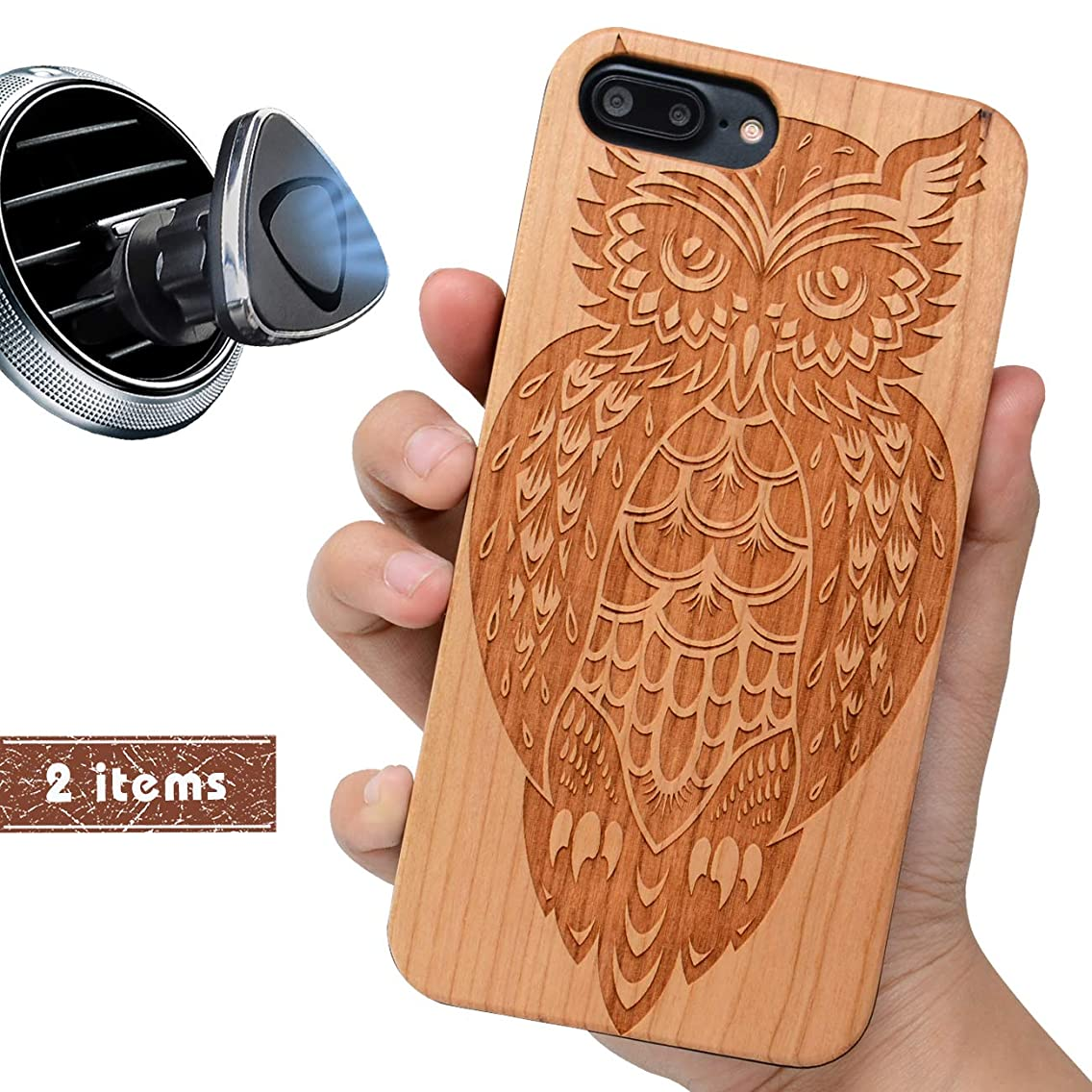 iProductsUS Wood Phone Case Compatible with iPhone 8 7 6/6S (4.7 inch) and Magnetic Mount - Protective Cases Engraving Cool Owl,Built in Metal Plate, TPU Shockproof & Protective Phone Covers (4.7