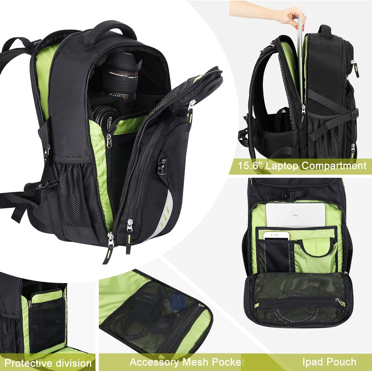 3-5 Lenses Endurax Video Camera Backpack Fit 2 DSLR//SLR Camera 15.6 inch Laptop for Outdoor Travel Grey