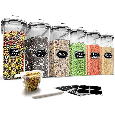 Wildone – Ensemble de 6récipients hermétiques avec contenance de 4L et couvercle anti-fuites noir pour céréales et aliments secs (sucre, farine, etc.)