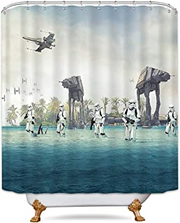 LIGHTINHOME AT-AT Empire Strikes Back In Star Wars Movie Shower Curtain Set Blue Ocean Green Tree Stormtroopers Panel 72x72 Inch Polyester Waterproof Fabric 12 Pack Plastic Hooks