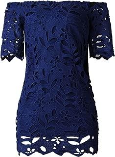 Arctic Cubic Short Sleeve Off The Shoulder Floral Lace Mini Bodycon Dress