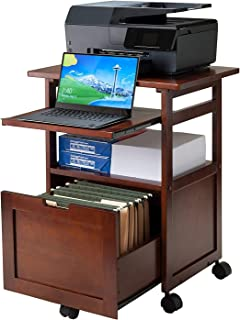 Mobile Printer Stand Cabinet, Portable Office Table with...