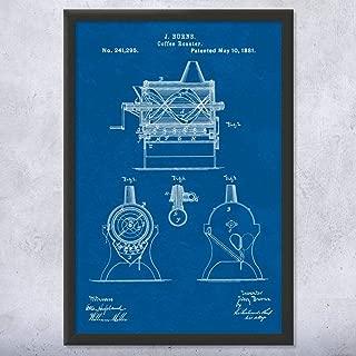 Framed Burns Coffee Roaster Print, Espresso Maker, Coffeeshop, Breakfast Cafe, Barista Gifts, Cappuccino Drinker Blueprint (9