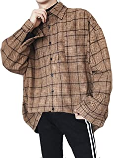 MengFan 長袖 シャツ 春 秋 メンズ カジュアルシャツ チェックシャツ ワイシャツ ゆったり オシャレ 通気抜群 アウター 韓国風 ファッション スタイリッシュ 黒