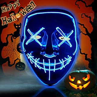 Halloween Purge Mask Light Up Scary Mask EL Wire LED Mask for Festival Party Gifts