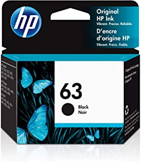 HP 63 | Ink Cartridge | Black | Works with HP DeskJet 1112, 2100 Series, 3600 Series, HP ENVY 4500 Series, HP OfficeJet 38...