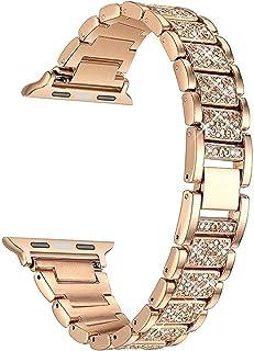 ZAALFC Diamond Case + Band para Apple Watch 6 5 4 3 2 1 Banda 44mm 40mm 42mm 38mm Steel de Acero Inoxidable Lady Mujeres P...