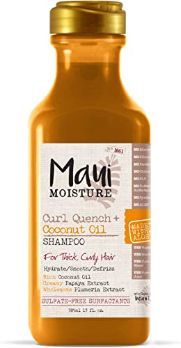 Maui Moisture Curl Quench + Coconut Oil Curl-Defining Anti-Frizz Shampoo to Hydrate and Detangle Tight Curly Hair, So...